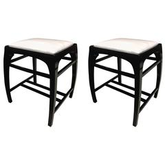 Koloman Moser Rarest Pure Secessionist Austrian Pair of Stools Covered in Silk