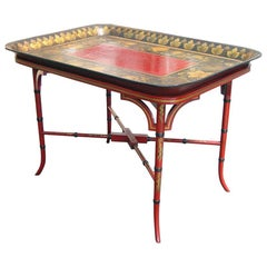 Lacquered Papier Mâché Tray and Stand with Burgundy Centre, circa 1830