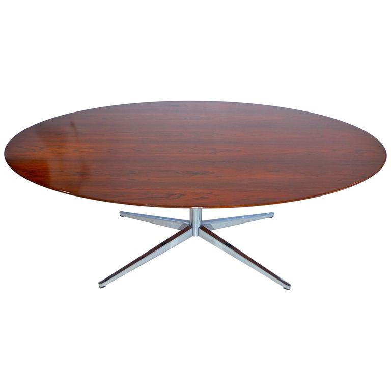 Beau Brazilian Rosewood Elliptical Oval Executive Table Desk By Florence Knoll  For Sale