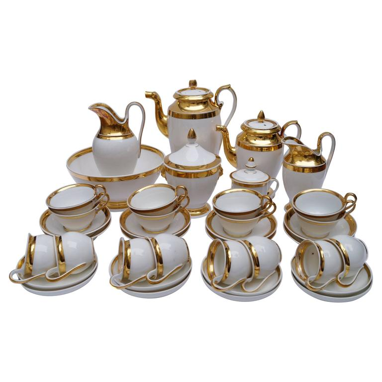 Luxury Porcelain Old Paris Empire Coffee Tea Service France 1800 1820 For