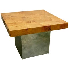 Paul Evans Style Parquetry Burl Wood and Chrome Side Table by Milo Baughman