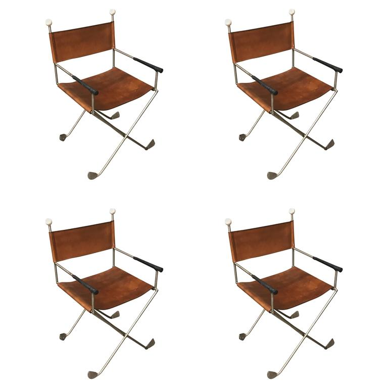 four custom golf motif campaign chairs for sale at 1stdibs