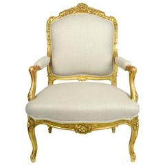 Louis XV Style Giltwood Armchair