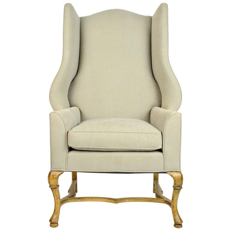 Large Scale French Country Style Wingback Chair For Sale