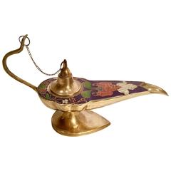 Mid-Century Brass and Cloisonne Genie Oil Lamp, Incense Burner