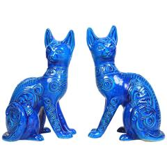 Pair of Mid-Century Large Italian Cobalt Glazed Pottery Cats
