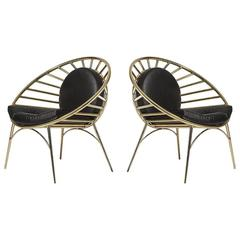 Hollywood Regency Style Tubular Brass and Leather Lounge Cocktail Chairs