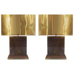 Mid-Century Modern Curtis Jere Brass Table Lamps, Pair