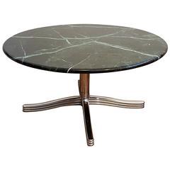 Custom 20th Century Swivel Marble-Top Coffee Table with Chrome Base