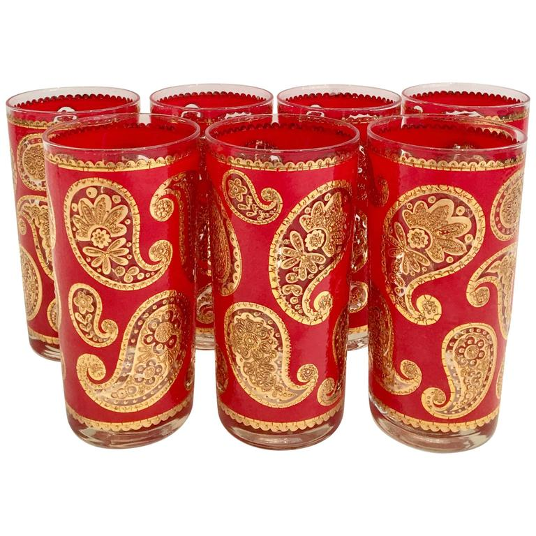 118991b490 1960s Culver Red and 22-Karat Gold Paisley High Ball Glasses Set of Seven  For