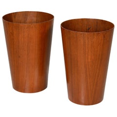 Tall Pair of Martin Aberg for Servex Circular Teak Wastebasket Planters, 1950s