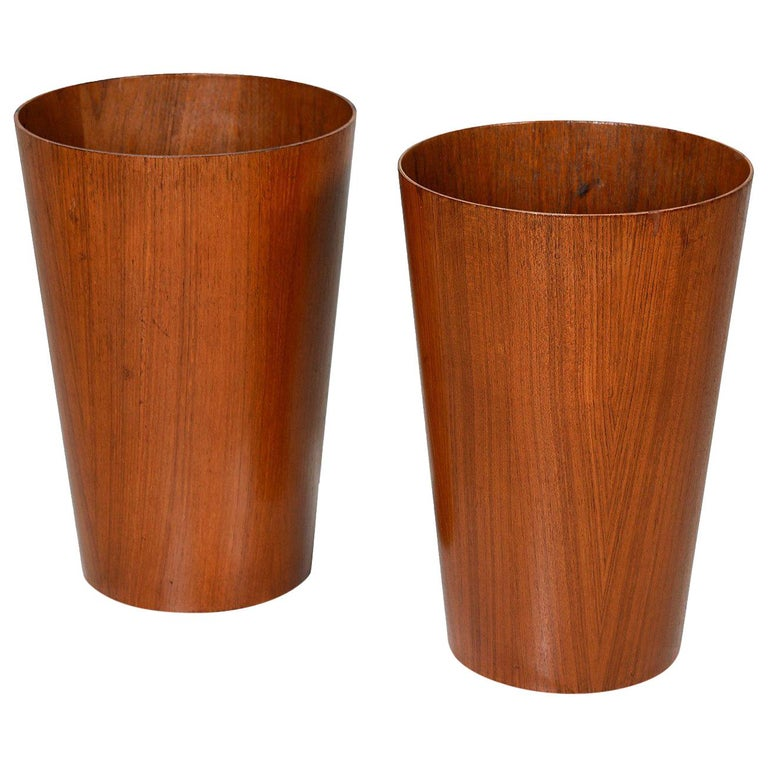 Tall Pair of Martin Aberg for Servex Circular Teak Wastebasket Planters, 1950s For Sale
