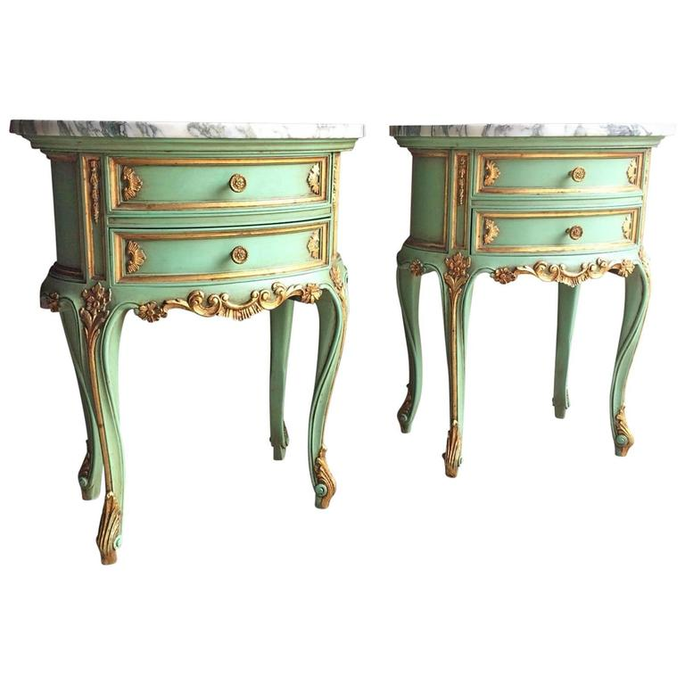 French Bedside Table Cabinets Nightstands Marble Painted Gilded - Rococo side table