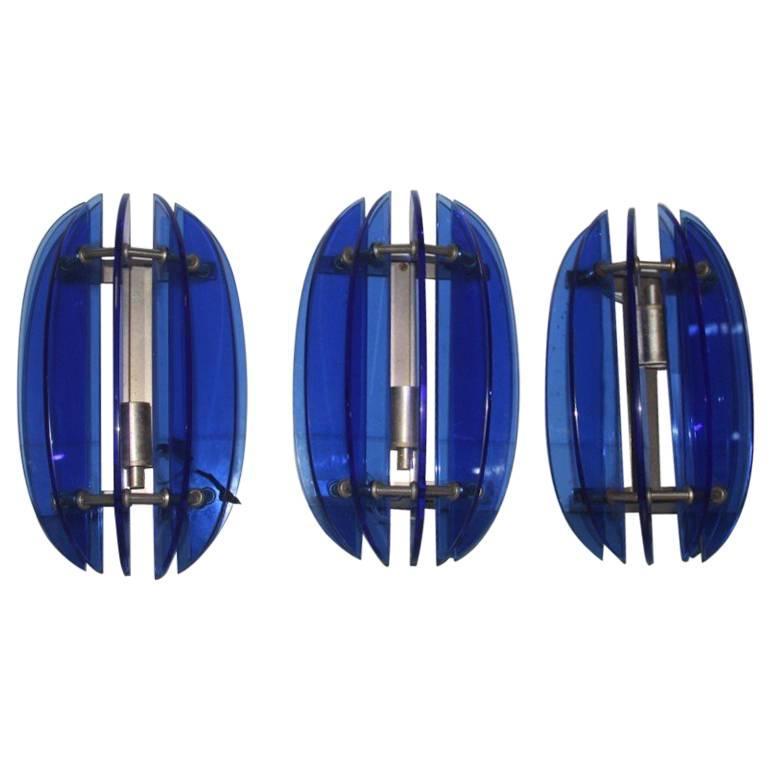 Blu Cristal Art Sconces Minimal Modernist Design 1960s