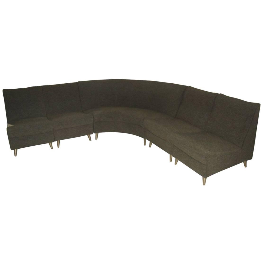 Elegant Modular Curved Sofa Italian Mid-Century Design Zanuso Green Brass Feat