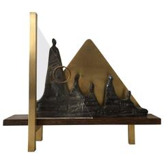 Brutalist Bronze and Brass Sculpture by Judith Braun, 1980s