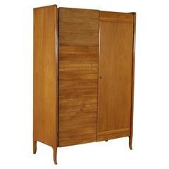 Wardrobe Cherrywood Veneer Vintage Manufactured in Italy, 1950s