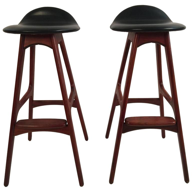 Two Erik Buck Bar Stools in Black Leather and Rosewood For Sale
