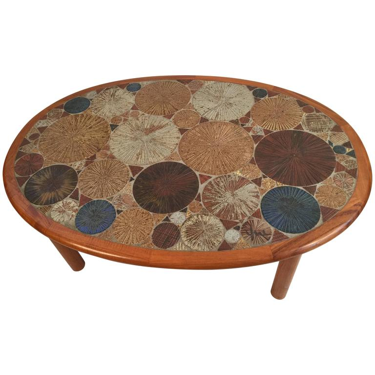 Tue Poulsen For Haslev Oval Coffee Table With Art Tile
