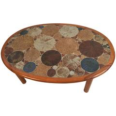 Tue Poulsen for Haslev Oval Coffee Table with Art Tile Inlay