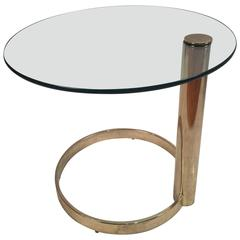 Brass and Glass Table by Leon Rosen for Pace Collection
