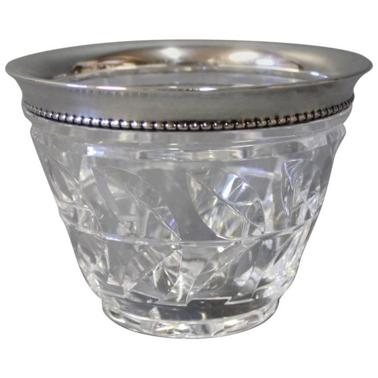 Bowl of Crystal with Edge of Hallmarked Silver from the 1930s