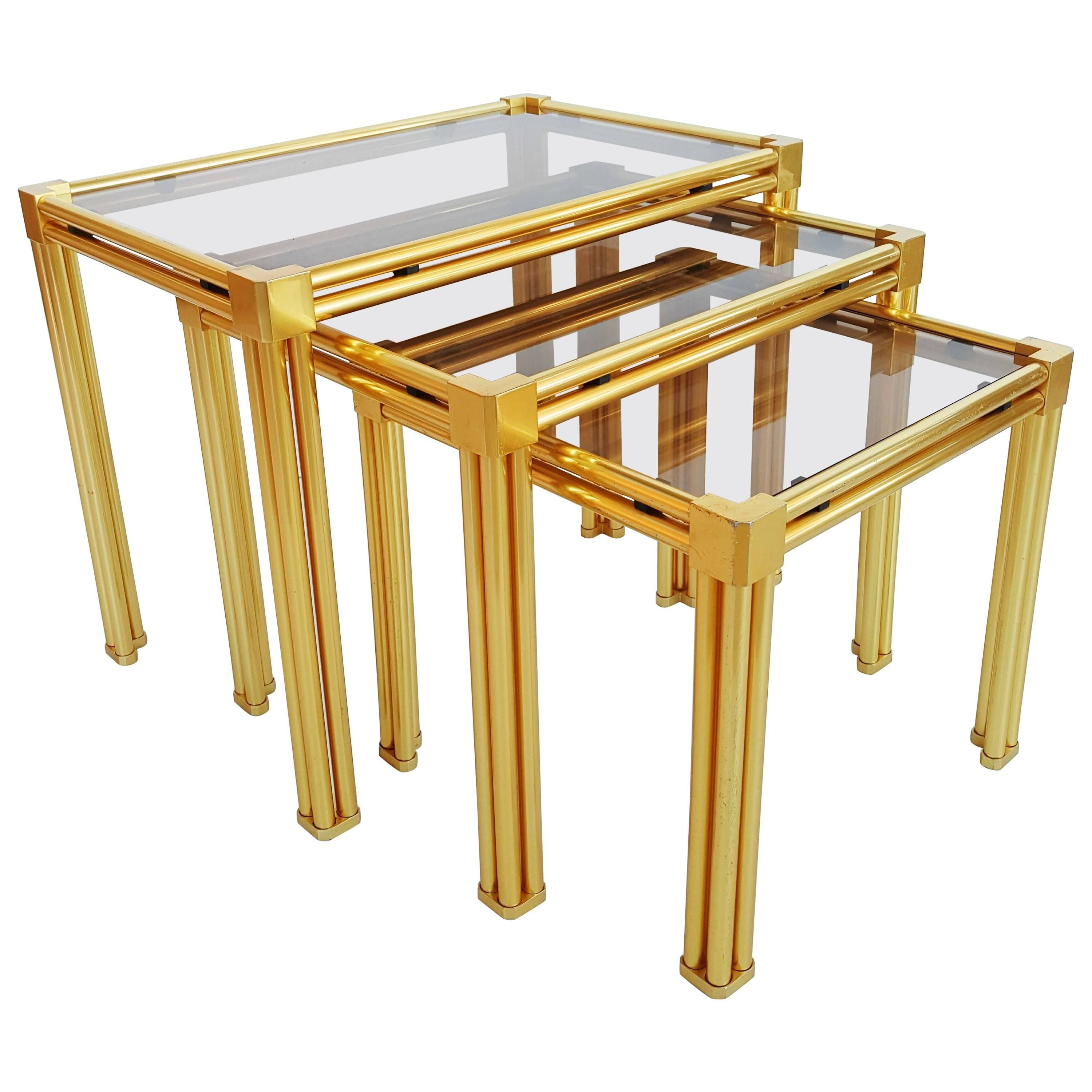French Brass and Smoked Glass Nesting Tables, 1970s