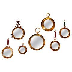 Set of 1970s Italian Brass Mirrors