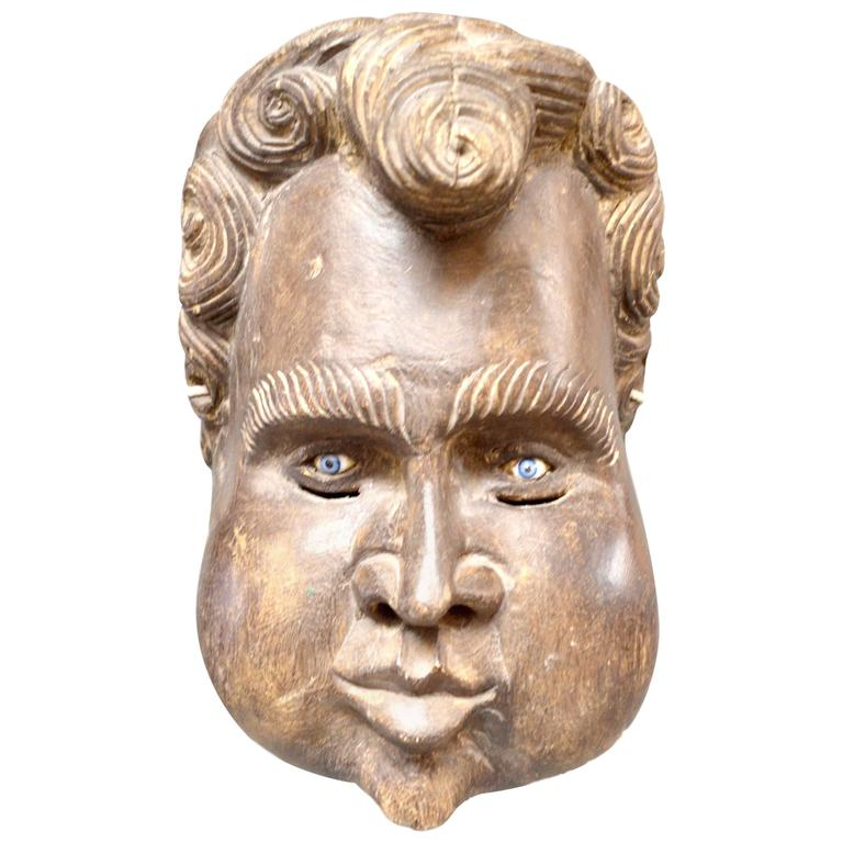 Sculptural French Wood Cherub Mask Carving For Sale