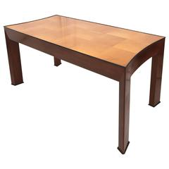 Art Deco Mahogany two tone Dining Table Italy 1950s