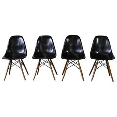 Set of Four Eames Vintage Fibreglass Side Chairs