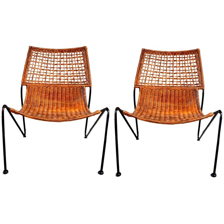 Sculptural Iron and Wicker Chairs in the style of Tempestini