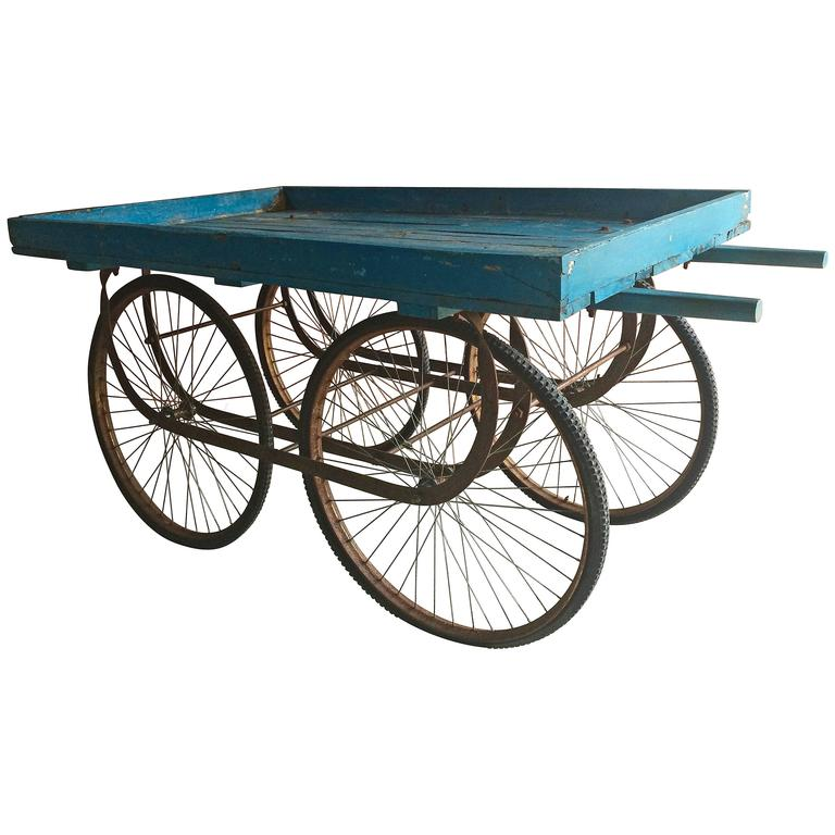 Antique Indian Market Or Hand Cart Flower Stand Victorian