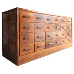 Mid-Century Haberdashery Shop Counter Chest of Drawers Dresser Industrial Oak