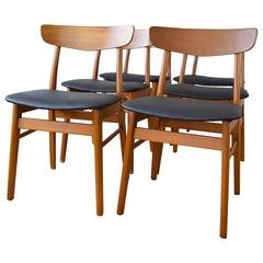 Teak and Beech Farstrup Dining Chairs, Set of Six, 1960s