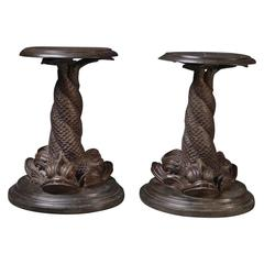 Flower Stand/ Stool, Cast Iron, Bronzed, Classical Style