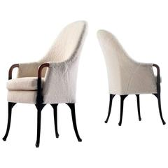 Pair of Giorgetti Progetti High Armchairs, White Shearling Upholstery