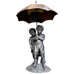 Zinc and Metal Fountain Centre Depicting Two Children, 19th Century