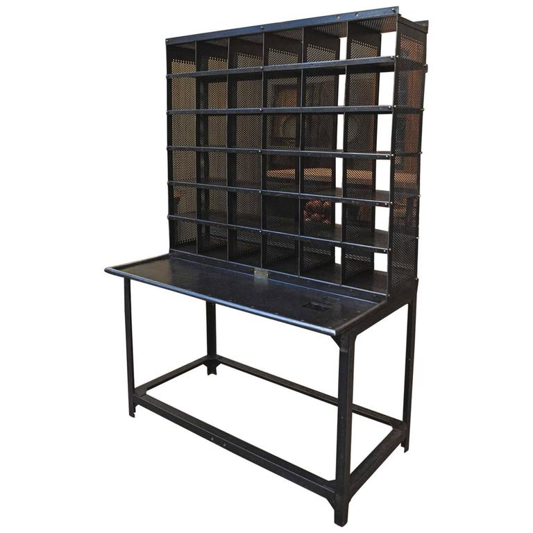 French Post Office Iron Poste Desk By Bauche 1920s At 1stdibs