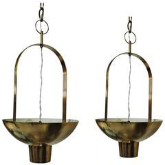1960´s Pair of Chandeliers by Jordi Vilanova, solid polished brass - Spain