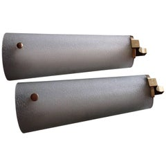 Pair of Huge Wall Lights Scones Bronze and Molded Glass