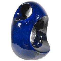 Sculptural Blue Ceramic Table Lamp, Italy, 1960s
