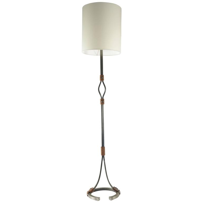 Floor Lamp from the 1960s in Wrought Iron and Leather
