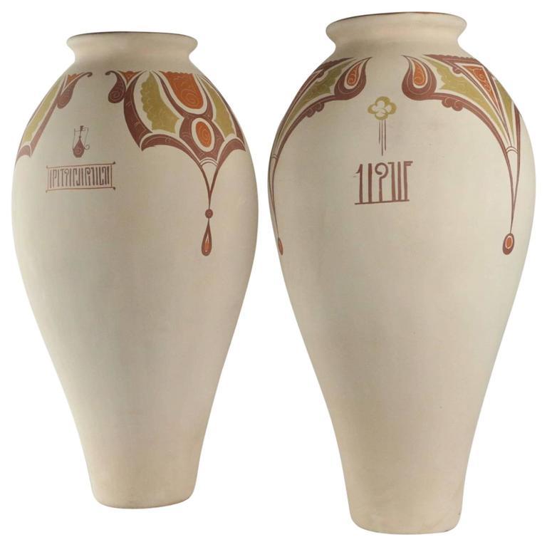 Paire of Very Important Vases in Terra Cotta in Greek Design, 20th Century