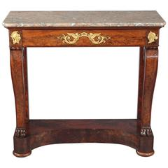 French Empire Mahogany and Gilt Bronze Console Stamped Kolping