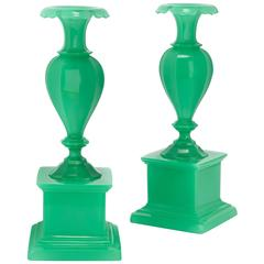 Pair of Antique Bohemian Green Opalescent Glass Vases