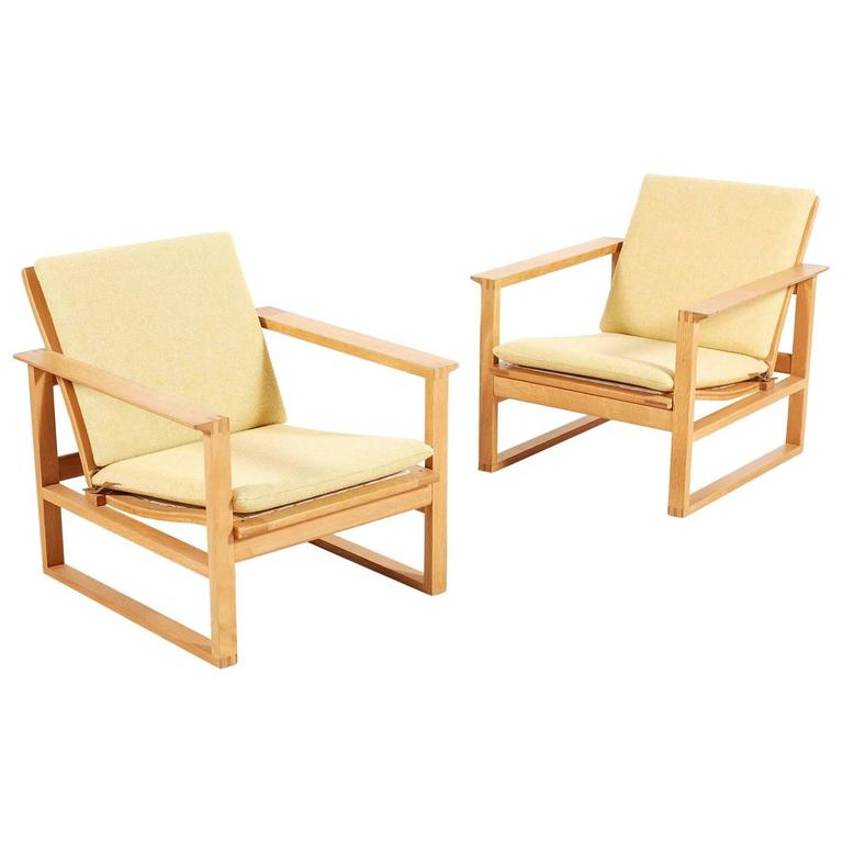 Børge Mogensen Pair of Lounge Oak Chairs Model 2256, 1956