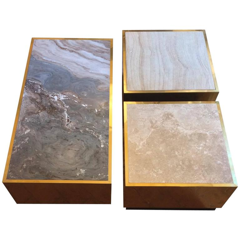 Nice Mid-Century Modern, Italian Set of Three Coffee Table in Brass and Stone For Sale