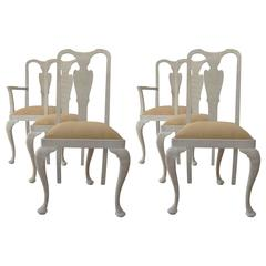 Set of Six Antique Swedish Style Limed Oak Dining Chairs