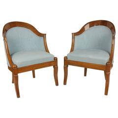 Pair of French Restauration Period Armchairs or Bergère
